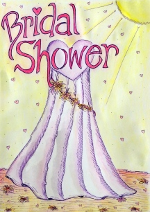 Hand drawn bridal shower invitation sample
