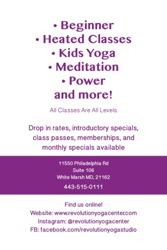 Revolution Yoga postcard (back)