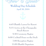 Personalized wedding schedule
